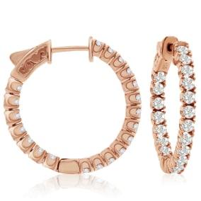 1 1/2 Carat Crystal Hoop Earrings In 14K Rose Gold Over Sterling Silver, 1 Inch