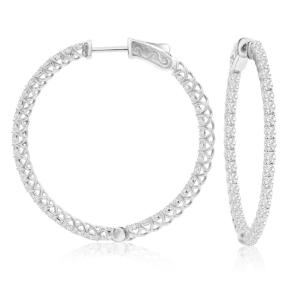 2 Carat Crystal Hoop Earrings In Sterling Silver, 1 1/2 Inches