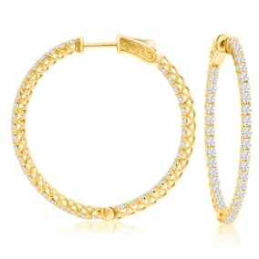 2 Carat Crystal Hoop Earrings In 14K Yellow Gold Over Sterling Silver, 1 1/2 Inches