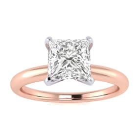 1/2ct Princess Cut Diamond Solitaire Engagement Ring In 14K Rose Gold