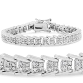 1 Carat Diamond Bracelet In Platinum Overlay, 7 Inches.  Beautiful Style That Everyone Loves!