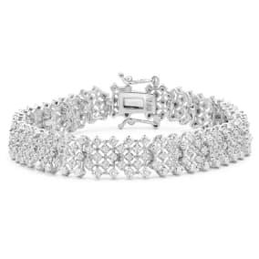 2 Carat Natural Rose Cut Diamond Tennis Bracelet In Platinum Overlay, 7 Inches