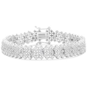 3 Carat Diamond Tennis Bracelet In Platinum Overlay, Raw Natural Rose Cut Diamonds. Very interesting But Not Fiery