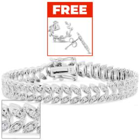 1 Carat Diamond Petal Bracelet In Platinum Overlay, 7 Inches. Brand New Exclusive Gorgeous Bracelet!