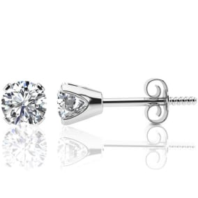 1 1/4 Carat Colorless Diamond Stud Earrings In 14 Karat White Gold