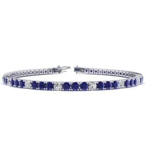 4 1/3 Carat Sapphire And Diamond Alternating Tennis Bracelet In 14 Karat White Gold Available In 6-9 Inch Lengths