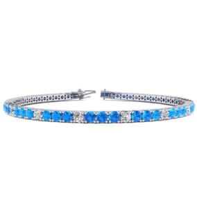 4 1/3 Carat Blue Topaz And Diamond Alternating Tennis Bracelet In 14 Karat White Gold Available In 6-9 Inch Lengths