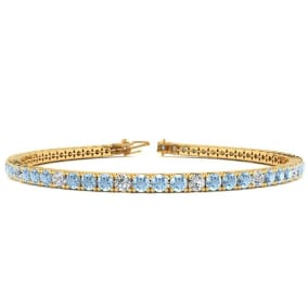 3 1/2 Carat Aquamarine And Diamond Graduated Tennis Bracelet In 14 Karat Yellow Gold Available In 6-9 Inch Lengths