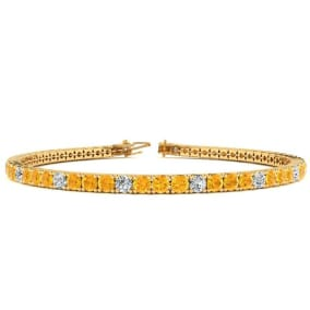 3 1/2 Carat Citrine And Diamond Graduated Tennis Bracelet In 14 Karat Yellow Gold Available In 6-9 Inch Lengths