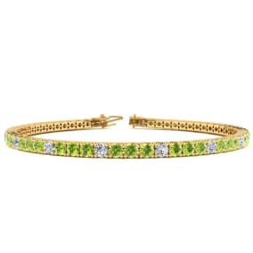 3 1/2 Carat Peridot And Diamond Alternating Tennis Bracelet In 14 Karat Yellow Gold Available In 6-9 Inch Lengths