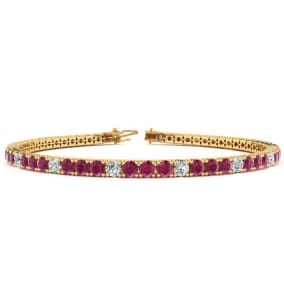 4 1/3 Carat Ruby And Diamond Alternating Tennis Bracelet In 14 Karat Yellow Gold Available In 6-9 Inch Lengths