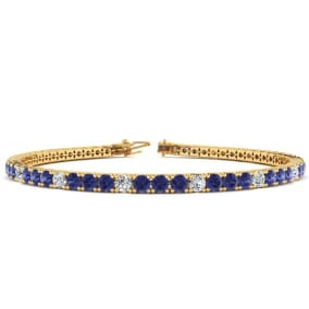 4 1/3 Carat Tanzanite And Diamond Alternating Tennis Bracelet In 14 Karat Yellow Gold Available In 6-9 Inch Lengths