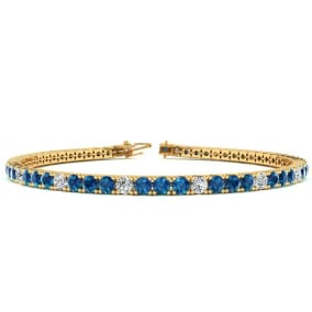 3 1/2 Carat Blue And White Diamond Alternating Tennis Bracelet In 14 Karat Yellow Gold Available In 6-9 Inch Lengths