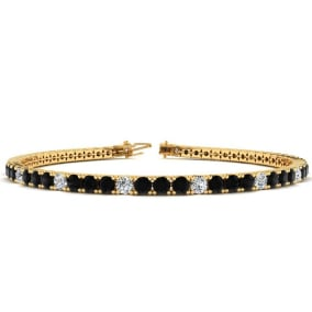 3 1/2 Carat Black And White Diamond Alternating Tennis Bracelet In 14 Karat Yellow Gold Available In 6-9 Inch Lengths