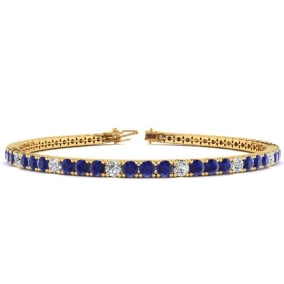 4 1/3 Carat Sapphire And Diamond Alternating Tennis Bracelet In 14 Karat Yellow Gold Available In 6-9 Inch Lengths