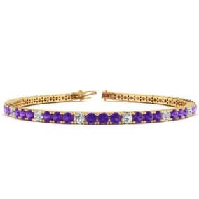 3 1/2 Carat Amethyst And Diamond Alternating Tennis Bracelet In 14 Karat Yellow Gold Available In 6-9 Inch Lengths