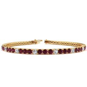 4 Carat Garnet And Diamond Alternating Tennis Bracelet In 14 Karat Yellow Gold Available In 6-9 Inch Lengths