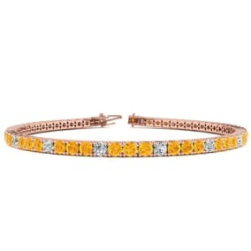 3 1/2 Carat Citrine And Diamond Graduated Tennis Bracelet In 14 Karat Rose Gold Available In 6-9 Inch Lengths