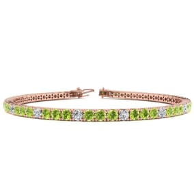 3 1/2 Carat Peridot And Diamond Alternating Tennis Bracelet In 14 Karat Rose Gold Available In 6-9 Inch Lengths