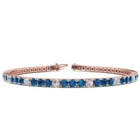 3 1/2 Carat Blue And White Diamond Alternating Tennis Bracelet In 14 Karat Rose Gold Available In 6-9 Inch Lengths