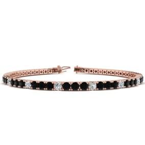3 1/2 Carat Black And White Diamond Alternating Tennis Bracelet In 14 Karat Rose Gold Available In 6-9 Inch Lengths