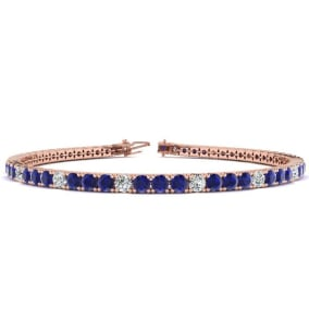 4 1/3 Carat Sapphire And Diamond Alternating Tennis Bracelet In 14 Karat Rose Gold Available In 6-9 Inch Lengths