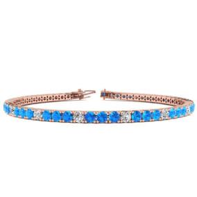 4 1/3 Carat Blue Topaz And Diamond Alternating Tennis Bracelet In 14 Karat Rose Gold Available In 6-9 Inch Lengths