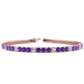 3 1/2 Carat Amethyst And Diamond Alternating Tennis Bracelet In 14 Karat Rose Gold Available In 6-9 Inch Lengths