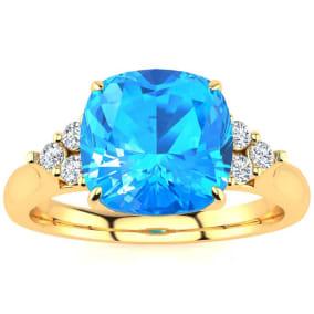 2 3/4 Carat Cushion Cut Blue Topaz and Diamond Ring In 14K Yellow Gold