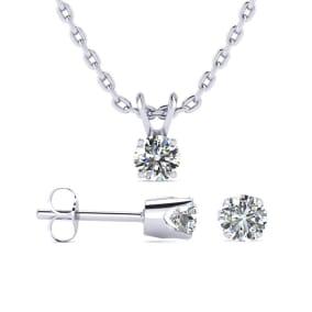 1/3 Carat Natural Diamond Stud and Pendant Necklace Set