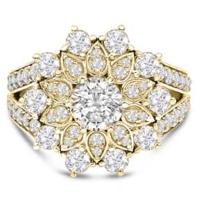 14K Yellow Gold 3 Carat Diamond Flower Ring, With 3/4 Carat Center Diamond