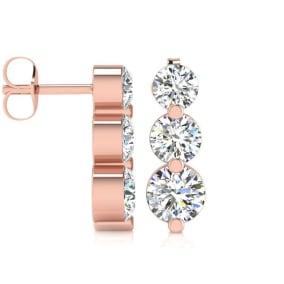 1ct Three Genuine Natural Diamond Graduated Drop Earrings In 14K Rose Gold. Fantastic Value!