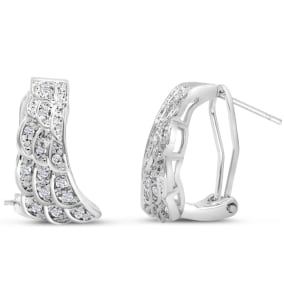 1/4 Carat Diamond Angel Wings Earrings. Everyone Loves These Omega-Back Diamond Earrings!