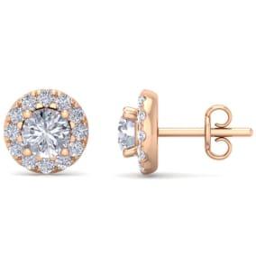 1 1/2 Carat Halo Diamond Stud Earrings In 14 Karat Rose Gold