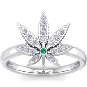 1/5 Carat Diamond and Emerald Weed Leaf Ring In 14K White Gold