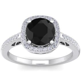 2 1/4 Carat Black and White Diamond Halo Ring In 14 Karat White Gold