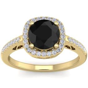 2 1/4 Carat Black and White Diamond Halo Ring In 14 Karat Yellow Gold