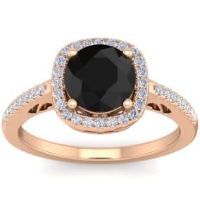 2 1/4 Carat Black and White Diamond Halo Ring In 14 Karat Rose Gold
