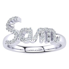 Personalized Diamond Name Ring In 14K White Gold - 3 Letters, 1/5cttw