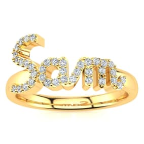 Personalized Diamond Name Ring In 14K Yellow Gold - 3 Letters, 1/5cttw