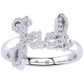 Personalized Diamond Name Ring In 14K White Gold - 4 Letters, 1/4cttw