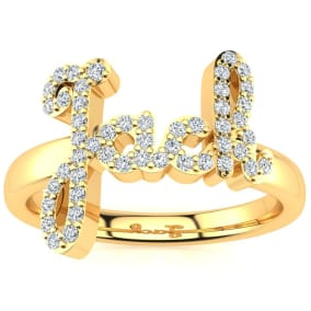 Personalized Diamond Name Ring In 14K Yellow Gold - 4 Letters, 1/4cttw
