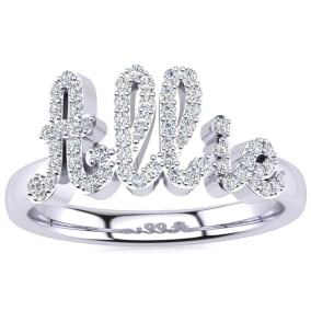 Personalized Diamond Name Ring In 14K White Gold - 5 Letters, 1/3cttw