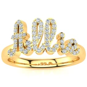 Personalized Diamond Name Ring In 14K Yellow Gold - 5 Letters, 1/3cttw