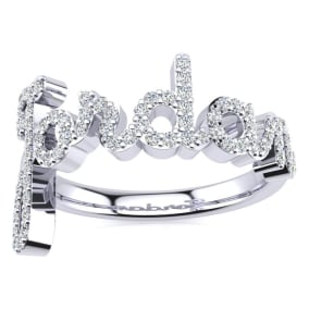 Personalized Diamond Name Ring In 14K White Gold - 6 Letters, 3/8cttw