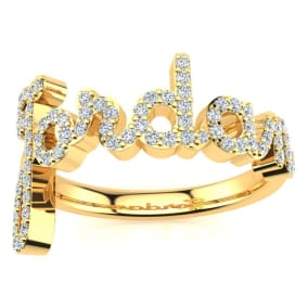 Personalized Diamond Name Ring In 14K Yellow Gold - 6 Letters, 3/8cttw