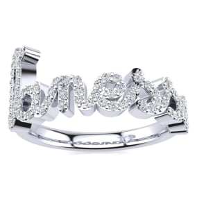 Personalized Diamond Name Ring In 14K White Gold - 7 Letters, 3/8cttw