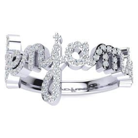 Personalized Diamond Name Ring In 14K White Gold - 8 Letters, 1/2cttw