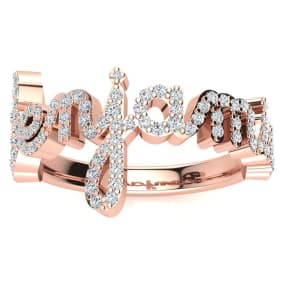 Personalized Diamond Name Ring In 14K Rose Gold - 8 Letters, 1/2cttw