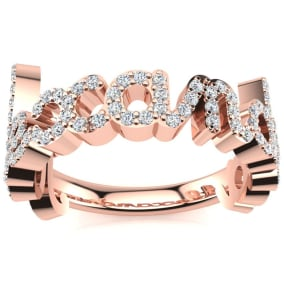 Personalized Diamond Name Ring In 14K Rose Gold - 9 Letters, 0.60cttw